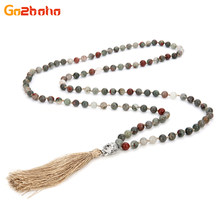 Go2boho Buddha Pendant Tassel Necklace for Women Amazon Mix Color Stone 8mm    6mm Beads Statement 108 Male Choker Necklace df16af11e75c