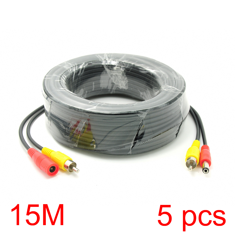 5x 15M/49FT RCA DC Connector Power Audio Video Cable For CCTV Camera Security