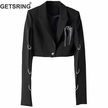 GETSRING Woman Coat Irregular Split Diamond Tassel Short Suit Women Black Leisure Sexy Short Blazer Women 2019 New Fashion Sexy