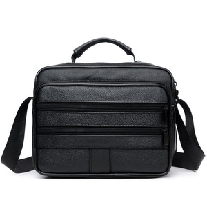 Image 5 - New Men Leather Handbag Zipper men Business bag Black Male Bag Shoulder bags Messenger bags mens briefcases bag Crossbody bag