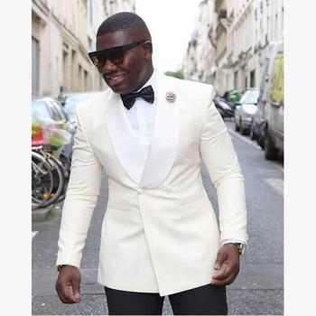 New Ivory Men's Suits with satin Shawl Collar Black Pants Groom Tuxedos 2 Pieces( Jacket+Pants) Groomsmen Best Men Wedding Suit