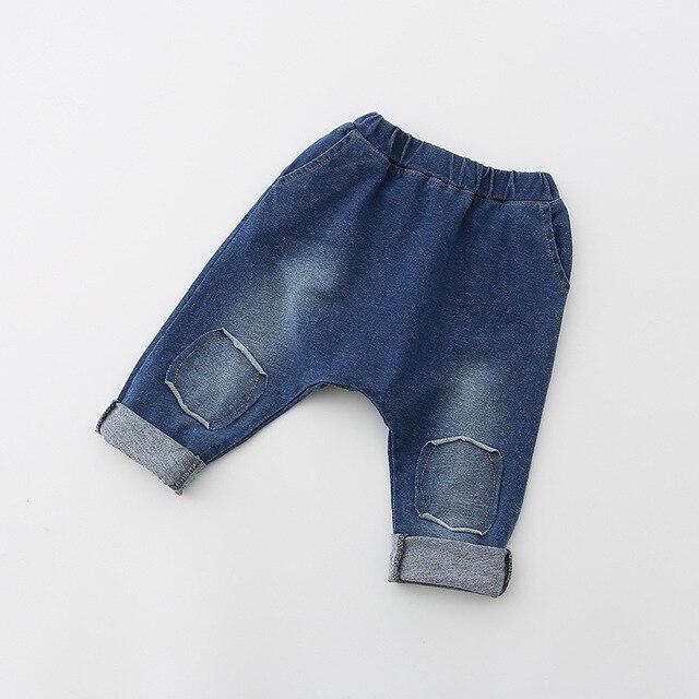 2017 весной и осенью новых детских мальчиков и девочек джинсы моды личности брюки дети мальчик брюки