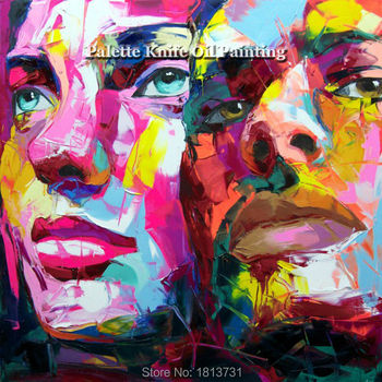 Hand painted Francoise Nielly Palette knife portrait Face Oil painting Character figure canva wall Art picture16-35