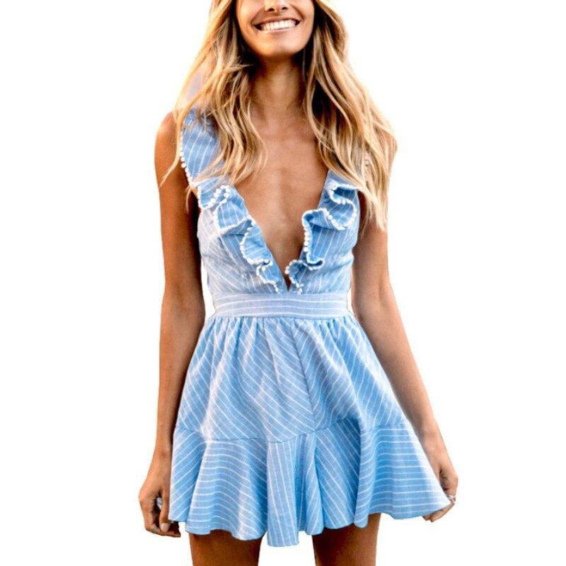 Summer Women Sexy Ruffles Dresses Boho Striped Dress V Neck Sleeveless High Waist Lace Up Backless Beach Vestidos 2018 New new