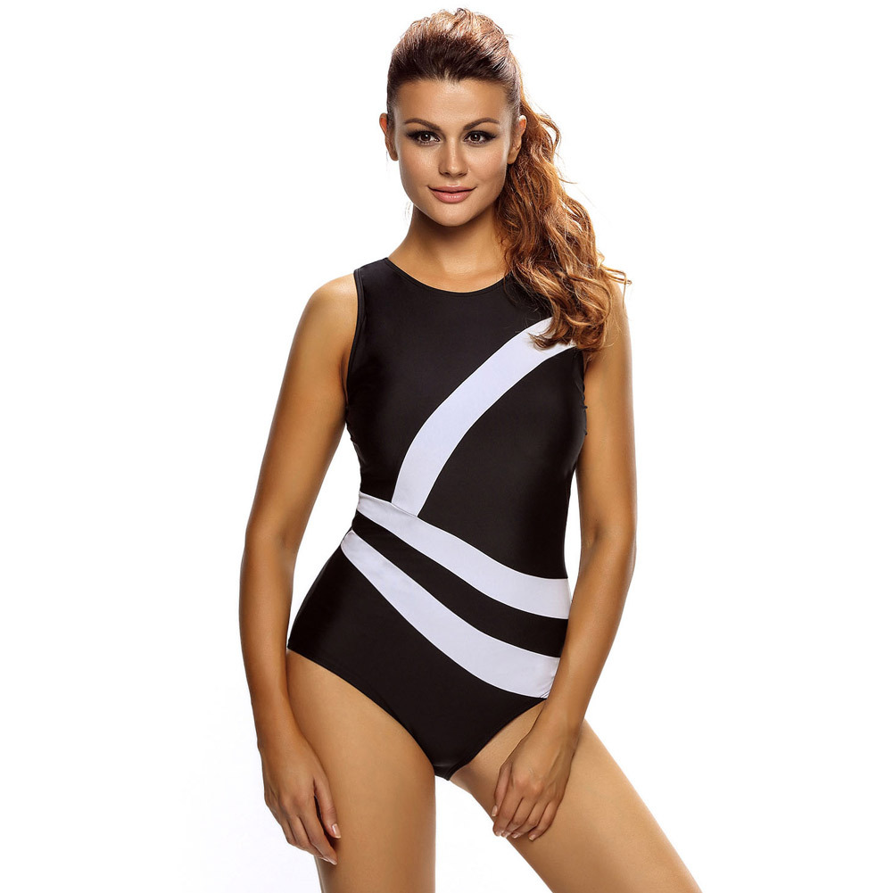 2017 Sexy One Piece Swim Suits Swimwear Women  Bikini Contrast White Diagonal Splicing Black Monokini Swimsuit