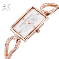 SK Top Brand Luxury Women Watch Crystal Simple Rectangle Design Rose Gold Bracelet Ladies Wrist Watches