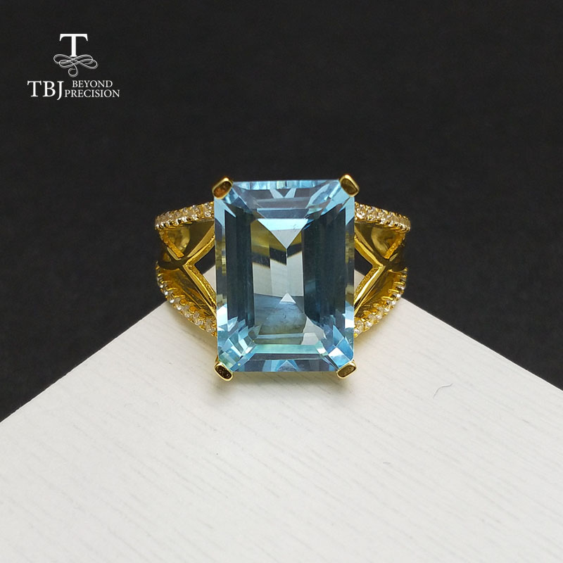 TBJ,Nice big natural sky blue topaz gemstone Ring in 925 sterling silver yellow gold color fine jewlery for women with gift box tbj delicate small ring with natural good color blue tanzanite gemstone lady ring in 925 sterling silver fine jewelry for women