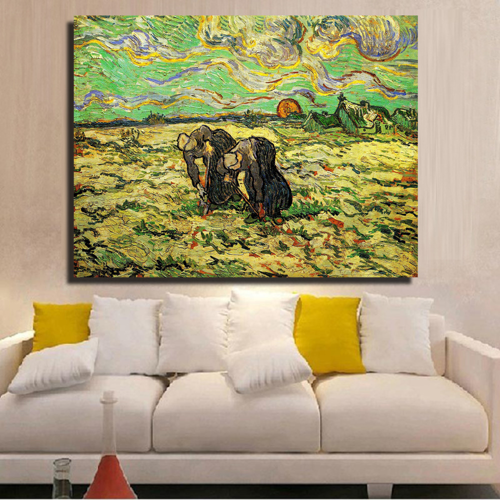 HDARTISAN Landscape Oil Painting Wheatfield With Industrious women ...