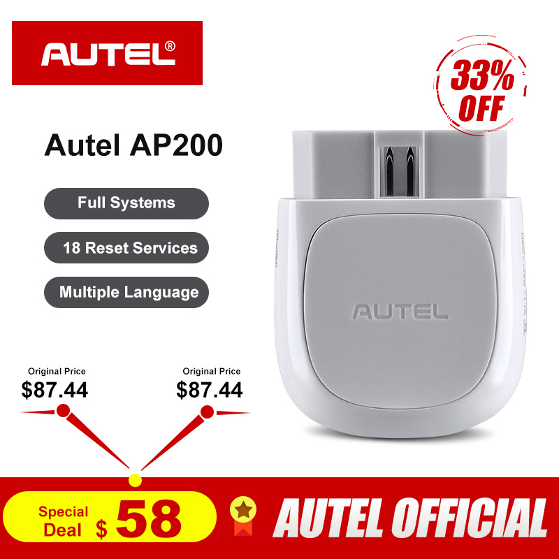 Autel AP200 Bluetooth OBD2 Scanner Code Reader with Full Systems Diagnoses AutoVIN TPMS IMMO Service for Family DIYers PK MX808 كاتم العقيلات