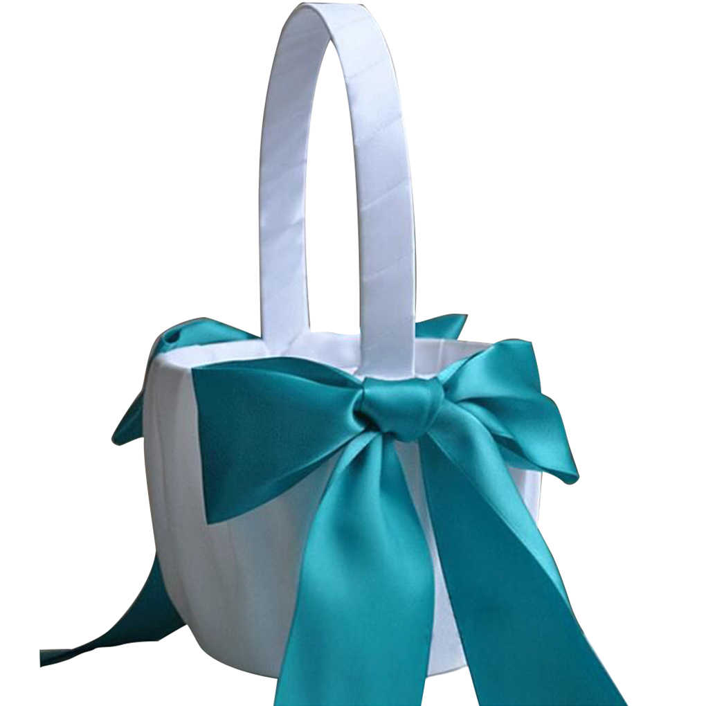 Romantic Bowknot Satin Wedding Ceremony Flower Girl Basket Bowknot Decor 9 Colors