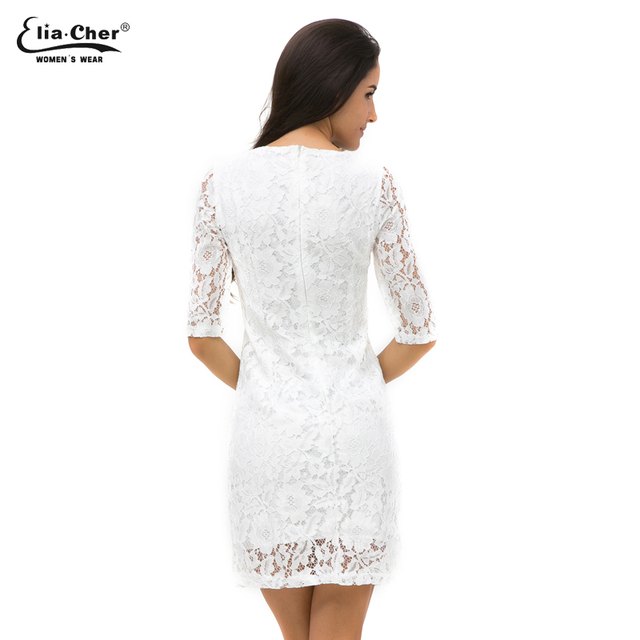 Elia-Cher V Neck Long Sleeve Dress – White With Lace For Party / Evening