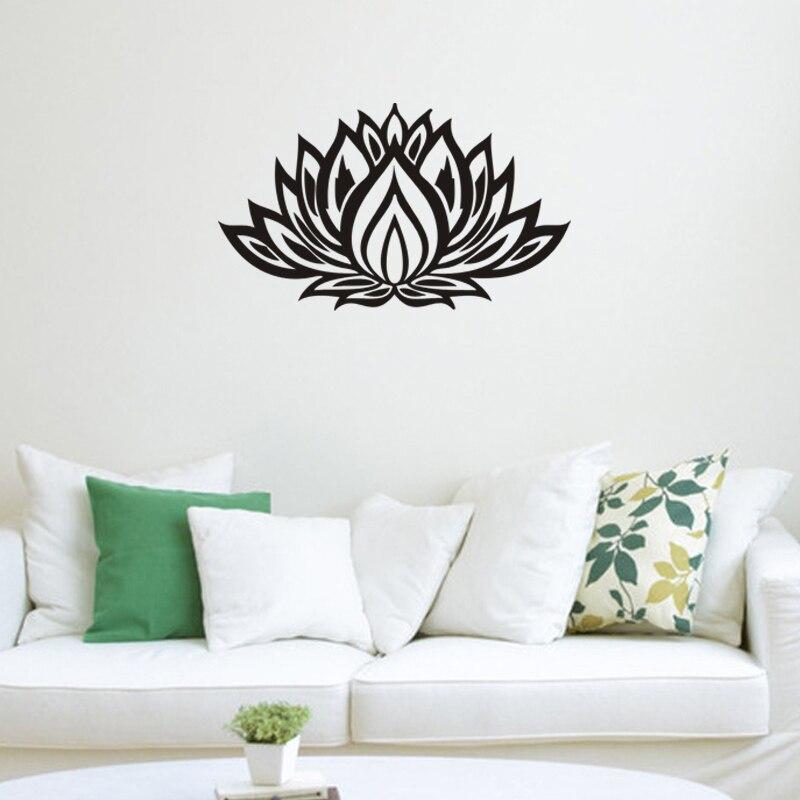 Buda lotus flores pegatinas de pared para sala de estar decoración para el hogar