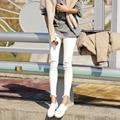 Плюс размер джинсы женские брюки весна осень 2016 бермуды feminina высокая талия черный джинсы отверстие белый джинсовые брюки женщина A0930