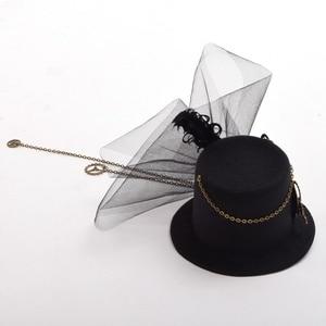 Image 4 - Donne Steampunk Top Cappello Nero Mini Clip di Capelli Accessori Per Capelli