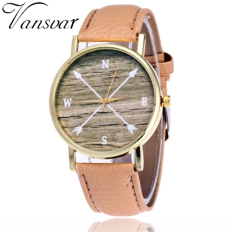 Vansvar marca femenina casual cardinales reloj pu cuero reloj de cuarzo moda  unisex Brújulas flecha reloj v26 f6bd55d9e27f