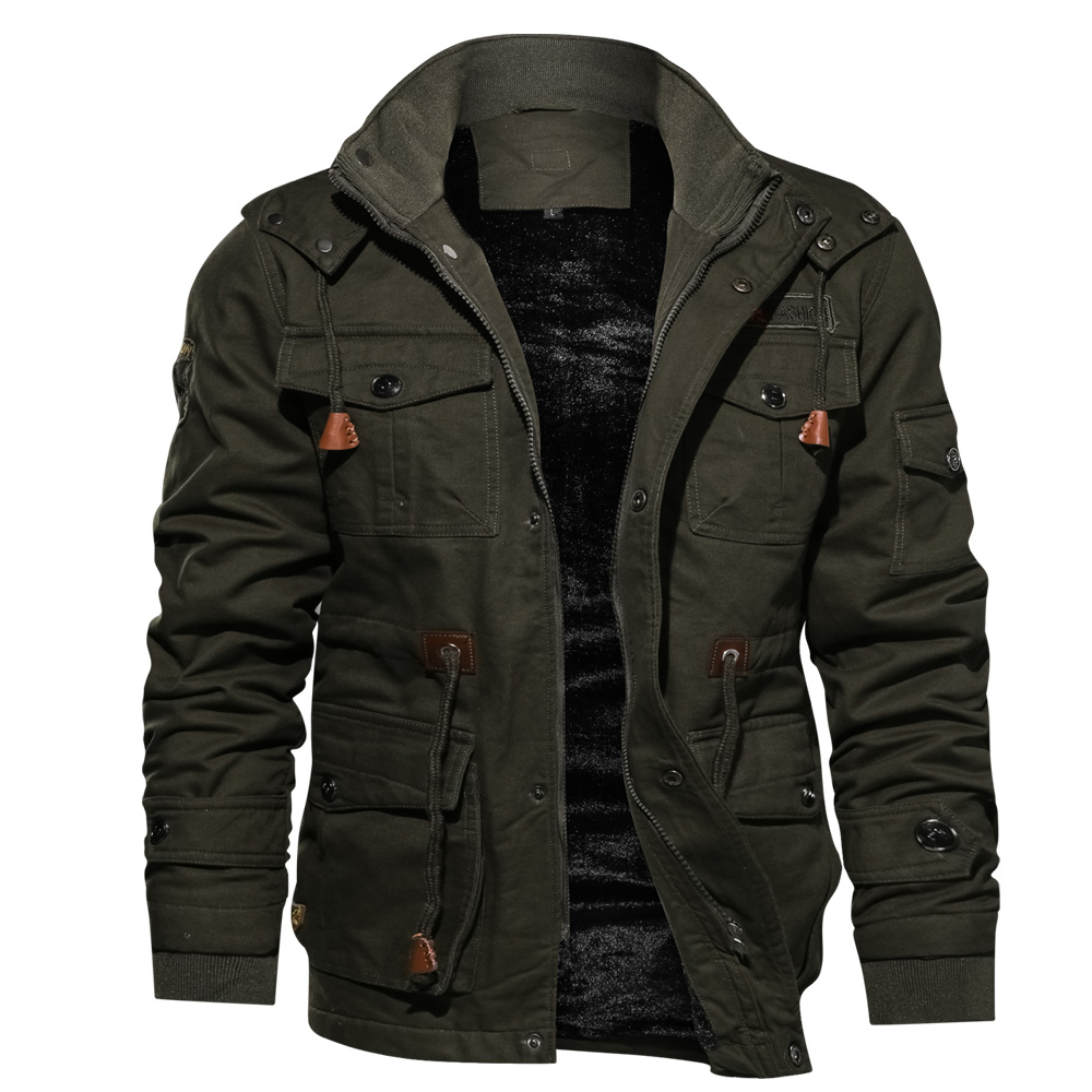 Mens Parka Jacket Winter Fleece Multi-pocket Casual Quilted Jacket(China)