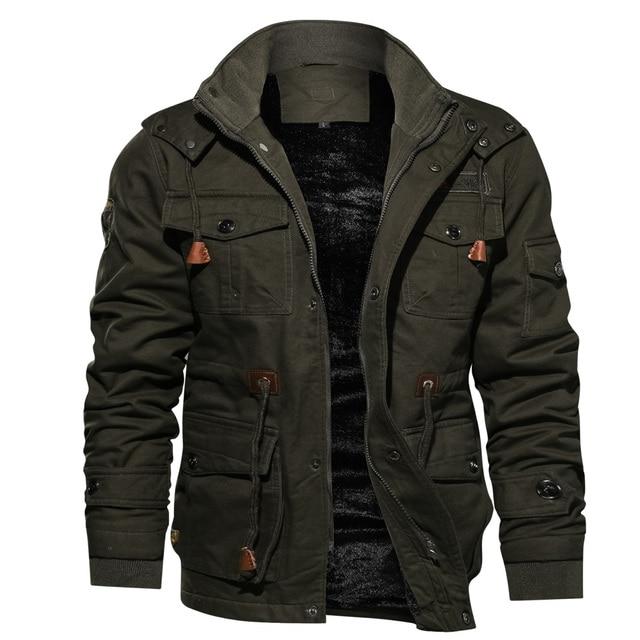 Мужская парка, зимняя флисовая Повседневная стеганая куртка с несколькими карманами