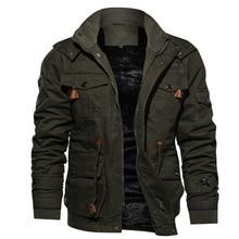 Mens Parka Jacket Winter Fleece Multi-pocket Casual Quilted Jacket