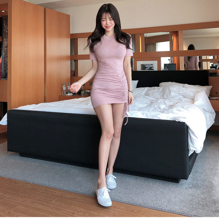 mini skirt Pink black Basic Cotton T Shirt Dress Women skinny fitting Sexy Streetwear Bodycon Slim Short Mini Dresses Vestidos