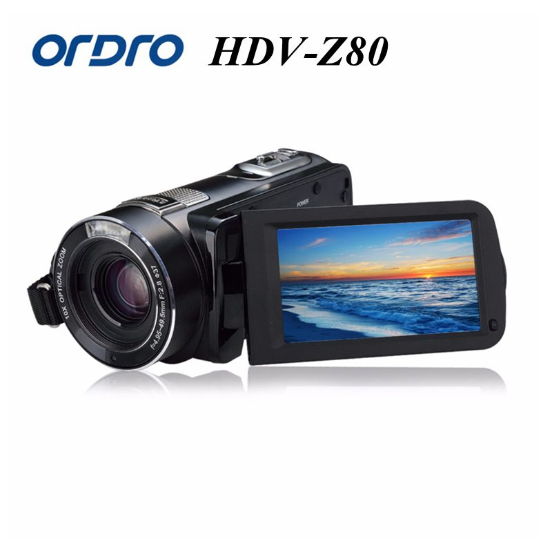 Ordro Digital Video Camera HDV-Z80 1080P Portable Full HD 10x Optical Zoom 3.0 Touch Screen Camcorder with Remote Control super dragon 1612hd 12 5x optical zoom professtional digital camera 16mp 720p hd video 2 7 screen disposable camera