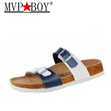 Mvp Boy Fashion Summer Cork Slippers 2018 New Men Casual Beach Double Buckle Printed Slip on Slides Shoe Flat white blue black