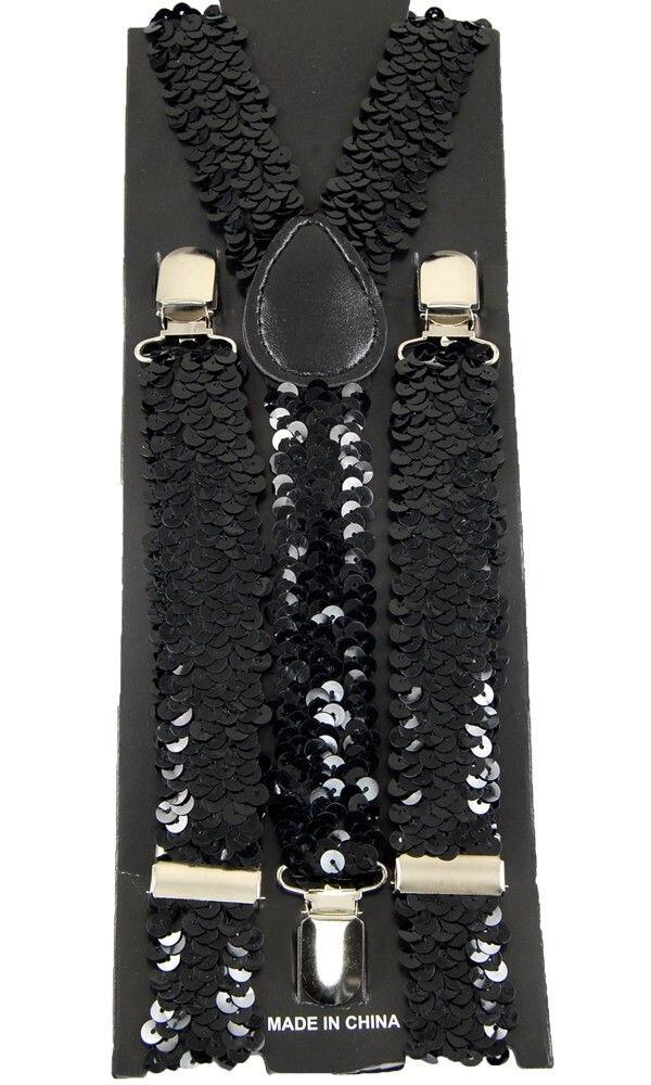 Black Sequin Unisex Clip-on Braces Elastic Suspender Y- back Suspender