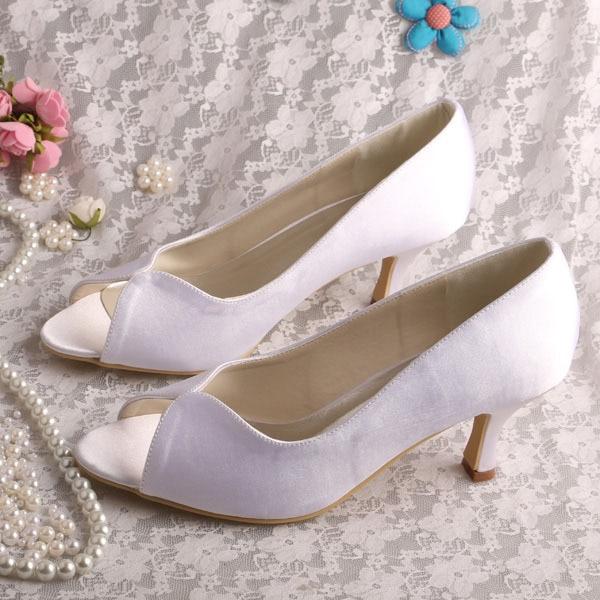61aaf1bd8c63 Wedopus MW247 Comfortable Mid Heel Ladies Peep Toe Shoes White Satin 6.5CM  Heel Dropshipping
