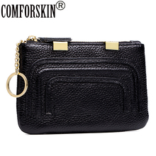 COMFORSKIN New Arrivals 100% Genuine Leather Sequined Style Womens Wallet Ladies Sort  Zipper Coin Purse 2018 Carteira Feminina
