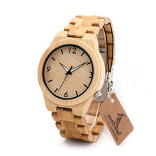BOBO BIRD B22 Mens Wooden Bamboo Watch Japanese Movement Quartz Watch with Luminous Hands with Full Bamboo Band in Gift Box