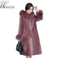 Women Elegant Faux Fur Long Coat Slim Wist Lace Up Winter Outwear Overcoat High Quality Thick Soft Fake Fur Hood Outwear Jacket