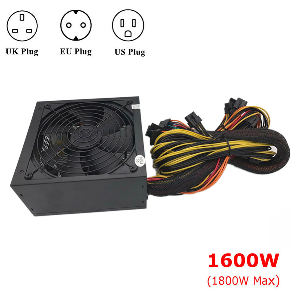 New 1600W Modular Power Supply For 6 GPU Eth Rig Ethereum Coin Mining Miner 90 Gold High ...