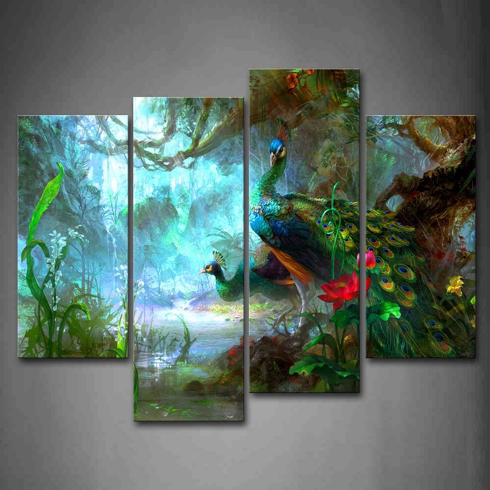 Encadrée mur Art photos paons forêt toile impression Animal moderne affiches avec cadre en bois pour la maison salon décor
