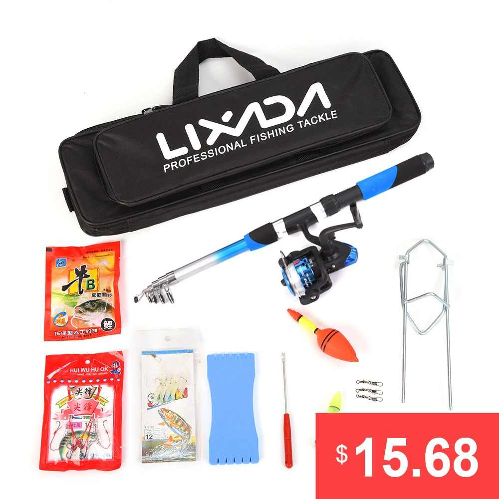 Lixada Telescopic Fishing Rod Combo Pole Set Telescopic Sea Spinning Fishing Reel Baits Hook Fishing Pole Rod Set Fishing Kits