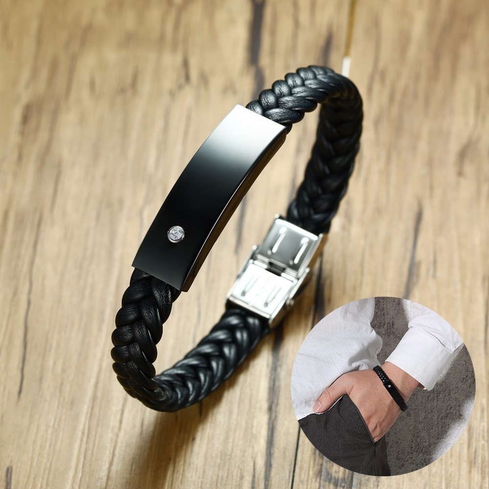 Startling Mens Black ID Tag On Braided Leather Bracelet with CZ Inlay Braslet Engraved Allah Anka Horus Eye Male Jewelry 8.26