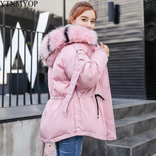 YTNMYOP Large Fur Collar Winter Coat Women Hooded Parkas Short Cotton Padded Jacket Thickening Warm Wadded Female