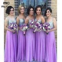 A Line 2019 длинные платья подружек невесты с кристаллами бисером ремни шифон Свадебная вечеринка платье подружки невесты на заказ