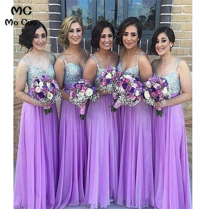 A-Line 2019   Bridesmaid     Dresses   Long with Crystals Beaded Straps Chiffon Wedding Party   Dress     Bridesmaid     Dress   Custom Made