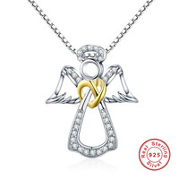 925 Sterling Silver Pendant Guardian Angel Heart Necklaces Jewelry