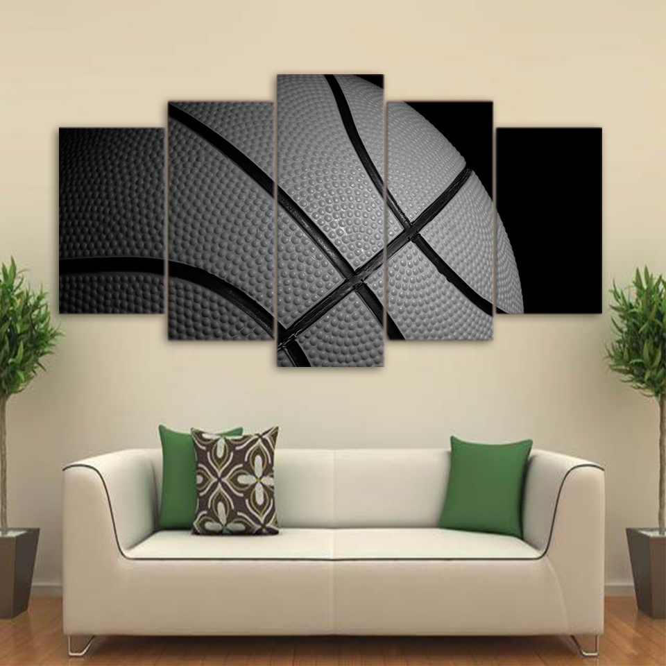 Embelish 5 Panels HD Print On Canvas Oil Painting Modern Home Decor Wall Art Sports Basketball Posters Living Room Artworks