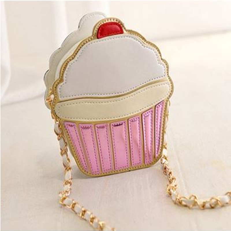 크리 에이 티브 웃기는 아이스크림 케이크 가방 여성을위한 작은 Crossbody 가방 귀여운 지갑 핸드백 파티 체인 클러치 어깨 메신저 백
