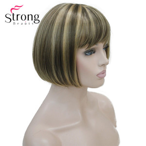 Image 3 - Strongbeauty llight brown with ginger hilight mix 여성용 숏 밥 스트레이트 전체 합성 가발