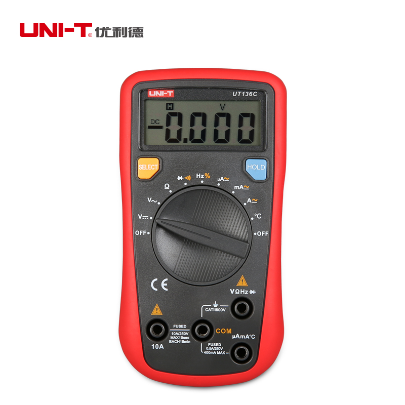 UNI T UT136C Digital Multimeter 3999 Count AC DC Voltmeter Ammeter Ohmmeter Temperature Frequency Diode tester