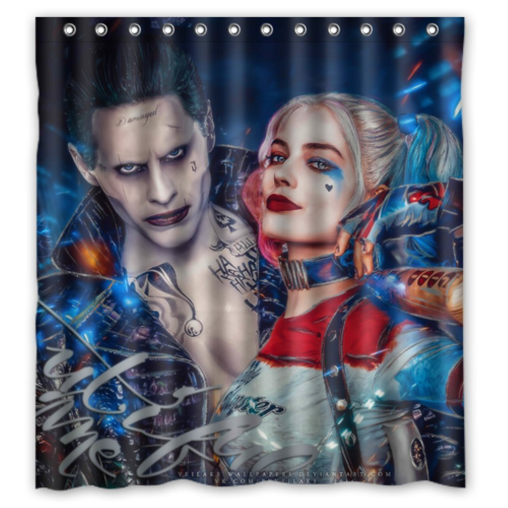 Bathroom Shower Curtains Harley Quinn and Joker Suicide 180x180cm Eco-friendly Waterproof Fabric Shower Curtain