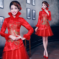 Red bride wedding Qipao dress long sleeved winter cheongsam cotton qi pao women chinese traditional dress Free shipping