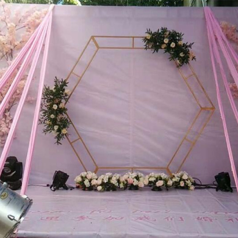 Wrought Iron Hexagonal Arch Wedding Background Birthday Party Decoration Rhombic Iron Arch Frame Stage Decoration Wedding Props