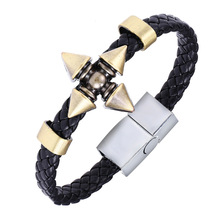 Anime Naruto Braid Leather Bracelets & Bangles Akatsuki Itachi Konoha Logo Alloy Bracelet Wristband Cosplay Jewelry