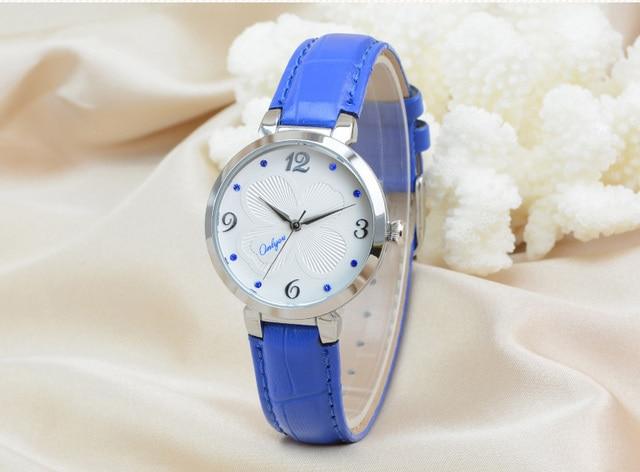 Onlyou Brand Women Leather Watch Quartz Movement Stainless Steel Watchcase Fashion School Girls Watch Relogio Feminino 81038