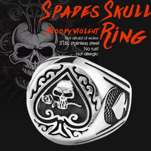 BEIER drop shipping skull bite rose poker design ring stainless steel Gothic personality men Punk rock jewelry Gift BR8-603(China)