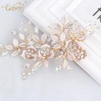 Elegant Bridal Rhinestones Hair Clip Flower Leaf Barrettes Bridal Bridesmaids Headpiece Wedding Engagement Prom Dress Accessory