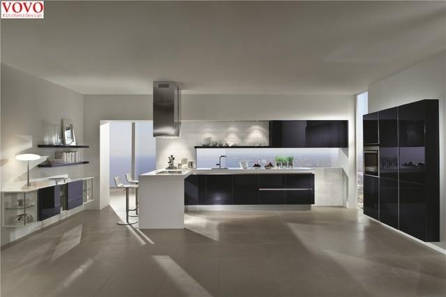 Nero moderno mobili da cucina laccata con bancone bar in Nero ...